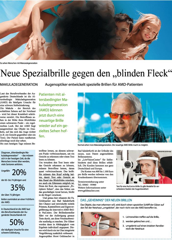 Neu Spezialbrille gegen Blinden Fleck - Grafik